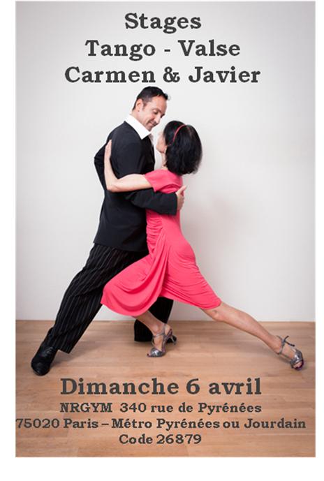 Stage Tango - Valse avec Carmen et Javier le domanche 6 avril