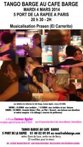 Milonga tango-barge du mardi 4 Mars